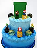 Super Mario Brothers Game Scene Birthay Cake Topper Featuring 2'' Figures of Mario, Luigi, Mushroom, Goomba, Koopa Troopa and Decorative Themed Pieces