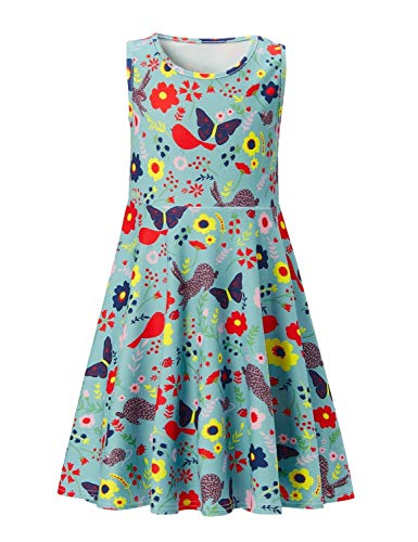 Leapparel Little Twins Cute Casual Slim Fit Skirts Butterfly Birds Graphics Summer High-Waisted Sleeveless Girls Skirts Holiday Floral Sleeveless ()