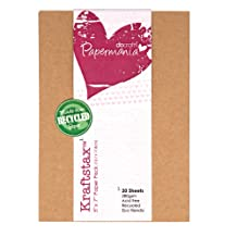 Papermania 7 x 5-inch Kraftstax Premium Kraft Paper Inserts Eco Cardstock, Pack of 20, Brown