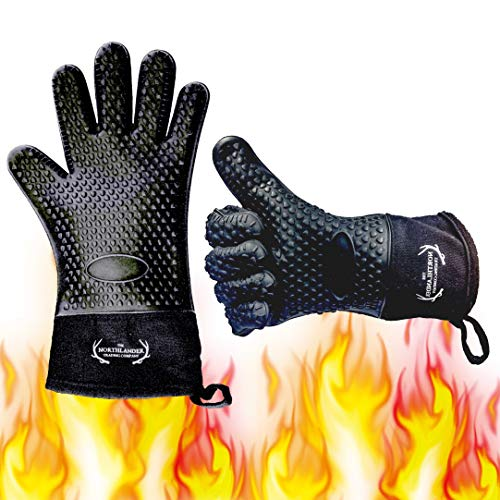 Long Silicone Grill Gloves - Heat Resistant Oven Mitts & Potholders for BBQ, Cooking, Baking - Wrist Protected, Waterproof, Cotton Layer inside, Non-slip Grill Accessories, 1 Size Fits All (Black) (Still Be Playing With Pots And Pans)