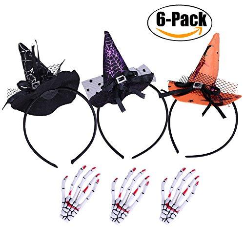 3 Pack Halloween Headband+3 Pcs Hair Clip,Fascigirl Halloween Party Witch Spider Hat Headbands Caps Headband Accessory For Party & Halloween & Carnivals (B (Witch Hat Headband)
