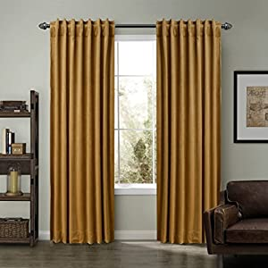 SeeSaw Home Super Soft Premium Solid Matt Velvet Thermal Insulated Rod Pocket 2 IN 1 Heading Curtains for Bedroom or Living Room, 50W By 120L Inch, Set of 2 Panels, Wheat