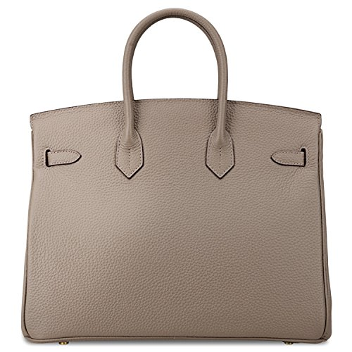 Bag Handle Golden Grey Solid Leather Women's Top Hardware Handbag Taupe with SanMario Designer Padlock qwt0O