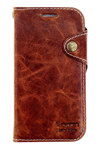 Yogurt for iPhone Xs Max (6.5 Inch) Case Handmade Genuine Leather Wallet Cover Dark Brown