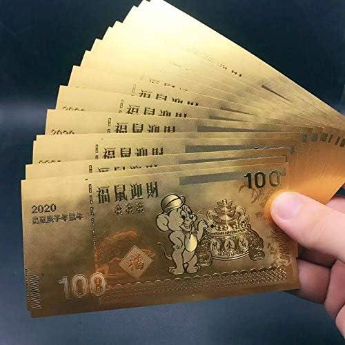 LIGONG 50Pcs Chinese Zodiac Rat Year Gold Banknote 2020 Chinese Rat New Year Gold Lucky Banknote