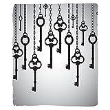 VROSELV Custom Blanket Antique Silhouettes Of Old Keys Chain Links Unlocking Secure Home Opener Soft Fleece Throw Blanket