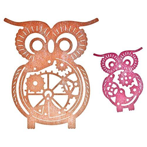 Cheery Lynn Designs B383 Steampunk Series Owls with Gears Die Cut , 2 Piece Die Set