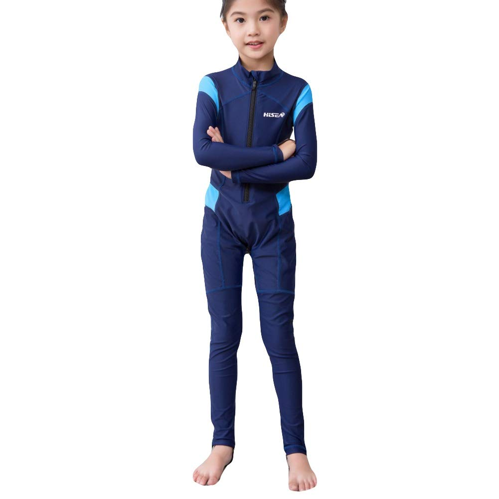 ELINKMALL Kids Wetsuits Rash Guards Girl Boy Swim Diving Sportswear Suits Uv Protection Full Body Long Sleeve One Piece Swimsuit Surfing Suit Blue
