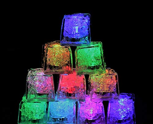 (12 Pack) Multi Color Led Light Up Ice Cubes | Party Wedding Birthday Decorations
