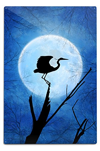 Paintings Crane Gallery (Crane and Moon (12x18 Aluminum Wall Sign, Wall Decor Ready to Hang))