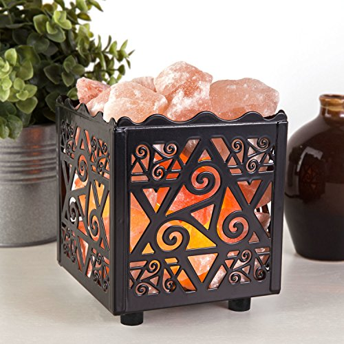 Crystal Decor Natural Himalayan Salt Lamp in Star Design Metal Basket with Dimmable Cord by CRYSTAL DECOR (Image #6)