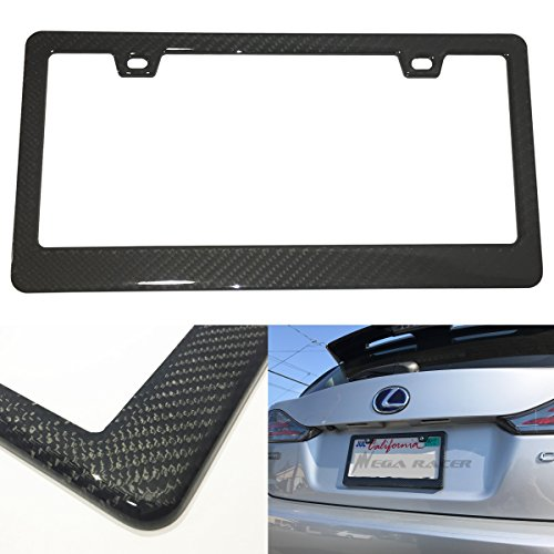 Mega Racer 1Pc JDM Style 100% Real Carbon Fiber License Plate Frame Holder Black 3D Twill Weave Tag Cover Front or Rear Auto Car US by Mega Racer