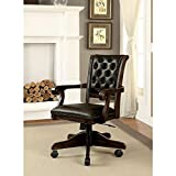 Paddington Dining or Gaming High Adjustable Arm Chair in Dark Brown Leather PU