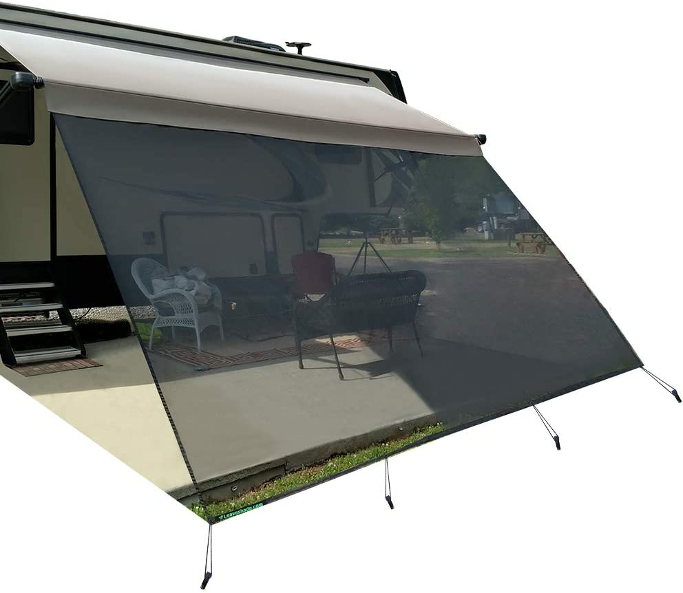 leaveshade RV Awning Sunshade Screen ● Tentproinc 10'X17'3''- Black Mesh Sun Shade ● Block Patio Front Sun Light ● Motorhome Camping Trailer UV Sunblocker ● Canopy Sunscreen-3 Years Lasting