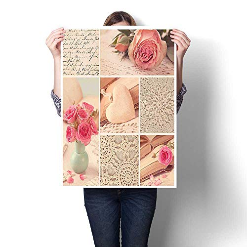 3D Hand Painting,Collage Photos Lace Roses Flower Leaves Old Art Print Light Pink Forest Green Oil Painting,Wall Art for Hallway Bathroom,20
