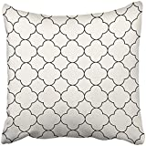 Throw Pillow Cover Square 18x18 Inches Black Quatrefoil in Oriental Style Monochrome White Abstract Arab Arabesque Arabian Arabic Asia Polyester Decor Hidden Zipper Print On Pillowcases