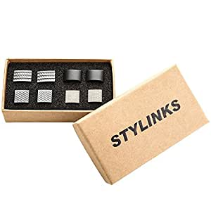 Stylinks Unqiue Stylish Modern Cufflinks Mix Design Set for Shirt Wedding Business (4 Pairs) (Box Set 1)