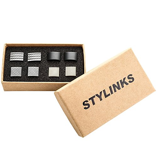 Stylinks Unqiue Stylish Modern Cufflinks Mix Design Set for Shirt Wedding Business (4 Pairs) (Box Set 1)