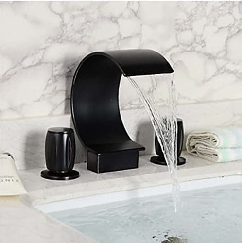 cheap Zovajonia Oil Rubbed Bronze Waterfall Bathroom Sink Faucet,Two Handle Three Hole Vessel Lavatory Faucet,Widespread Basin Mixer Tap