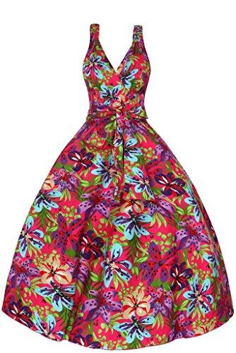 Mujeres años 1950 Mini Auricular retro Vintage Floral Tropical sido Swing-vestido de fiesta Rosa