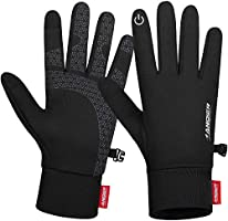 Anqier Winter Touch Screen Running Socks, Thin Thermal Gloves Cycling Gloves Lightweight Anti-Slip Driving Gloves for Men...