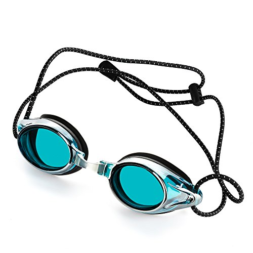 Anti-Fog Racing Swimming Goggles - by Proswims Blue Lens with Quick Adjustable Elastic Bungee Strap, Hard Case and Bonus Swim Goggles Microfiber Cleaning Cloth