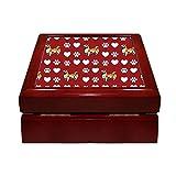 "Welsh Corgi Pembroke Dog Red Paw Heart 4"" x 4"" Jewelry Box Ceramic Tile Mahogany"