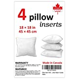 Pillow Insert 18x18, Premium Hypoallergenic, Regular Size, 4 Pack or 2 Pack,Throw Pillow Insert, Square Sham Stuffer Pillow, 100% New Polyester Fiber. 100% Satisfaction Guarantee. Made in Canada (4)