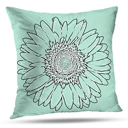 Pakaku Throw Pillows Covers for Couch/Bed 20 x 20 inch,Mint Green Gerbera Daisy Floral Art Home Sofa Cushion Cover Pillowcase Gift Decorative Hidden Zipper Summer Beach -