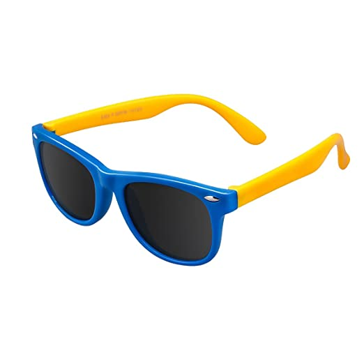771303cd6 IWOCH Sunglasses for Kids Boys 4-7 Wayfarers Polarized uv400 Protection  Blue Yellow