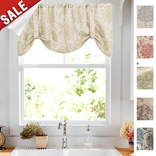 Floral Printed Tie Up Valances for Kitchen Windows Vintage Jacobean Floral Printed Linen Look Tie-up Valance Curtains Rod Pocket Adjustable Tie Up Shades for Windows (1 Panel, Sage, 20-Inch)