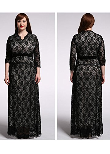 MatchLife Femme Robe Empire Dentelle Soiree Cocktail Midi&Maxi Svelte Cou V Collier-Style2 EU 42