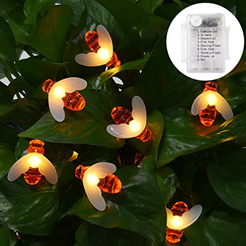 LEDGLE String Light Waterproof Patio Lights Perfect Decoration Light with Bee Shape, 30 LED Lights, 8 Lighting Modes, Warm White, Battery Powered, Easy to Install