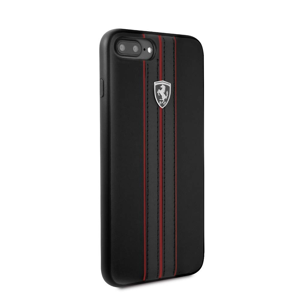 Ferrari Compatible with iPhone 8 Plus & iPhone 7 Plus, Off Track Collection, Black PU Leather Hard Case with contrasting Red Stitching finishes, TPU Rubber Frame by CG Mobile