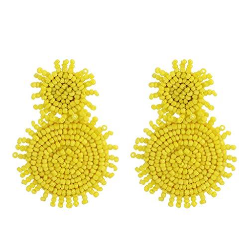 - Dangle Tassel Beaded Earring Bohemian Style Beaded Tassel Ear Nail Vintage Drop Earring Lady Jewelry Girl (yellow)