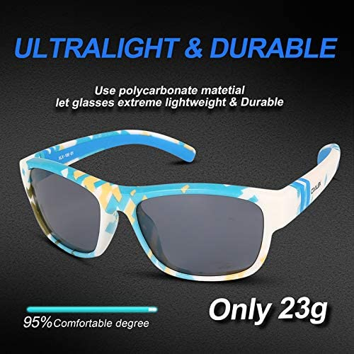 CALLEX Kids Sports Style Polarised Sunglasses Rubber Flexible Frame For Boys Girls Age3-13