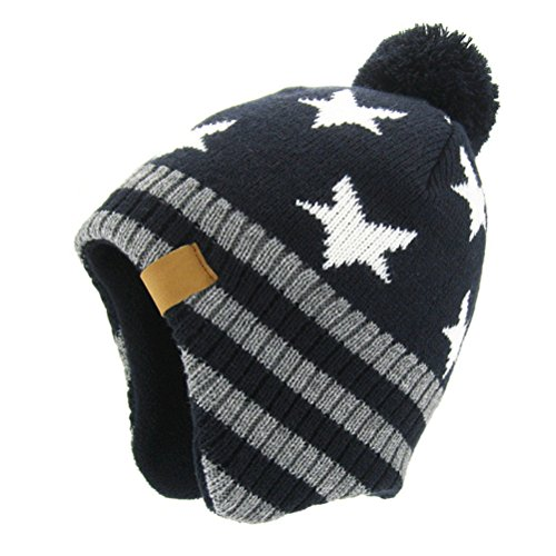 Knit Boys Beanie (Moon Kitty Baby Boys Girls Knit Hat Skiing Winter Caps With Warm Ear Flap, Navy White, 4-8Years)