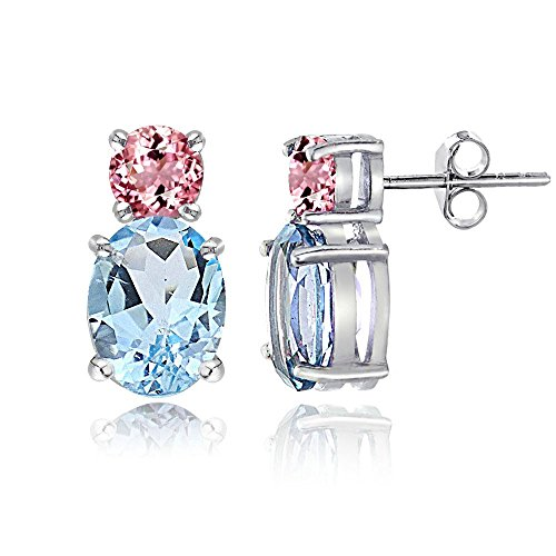 Sterling Silver Blue Topaz and Pink Tourmaline Double Solitaire Stud Earrings ()