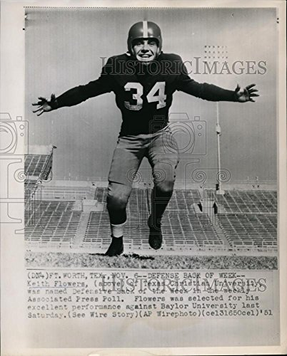 1951 Wire Photo Keith Flowers Named Defensive Back of The Week by AP poll