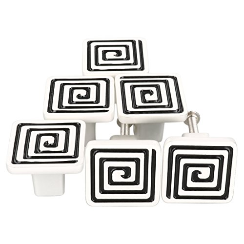 (uxcell Set of 6 Modern Simple Style Metal Furniture Door Cabinet Hardware Wardrobe Drawer Pulls Handles Square Knobs #23 White Silver with Black Lines)