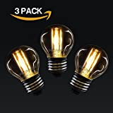 3 X Vintage Style Edison Screw LED Filament Amber Retro bronze Bulbs 2W Antique GOLF Light Decorate Home G45 Small Globe Round 360 Beam Angle Lamp E27 ES 2200K Warm White 25W Incandescent Replacement [Pack of 3 Bulbs]