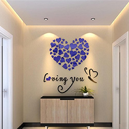 Ikevan Hot Selling Love Heart DIY Removable Vinyl Decal Art Mural Wall Stickers Home Room Decor - Friends Border Blue Wallpaper