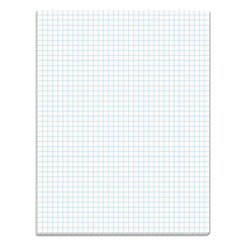 TOPS 33041 Quadrille Pads, 4 Squares/Inch, 8 1/2 x 11, White, 50 - Pencil Section Cross