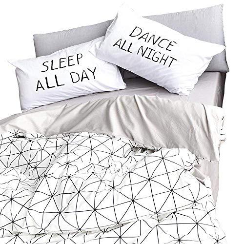 VClife Duvet Cover Sets Queen Bedding Duvet Cover Sets with Zipper Closure, White Gray Diamond Geometric Pattern Design, Premium Cotton Bedding Comforter Cover Sets, Lightweight, Soft, Hypoallergenic
