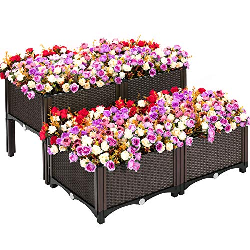 VIVOSUN Elevated Raised Garden Bed Kit, Plastic Garden Planter with Brackets Set of 4