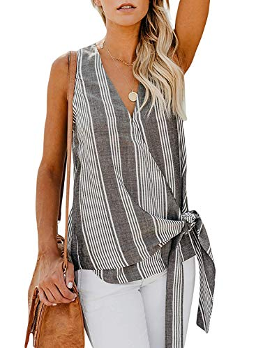 Niitawm Womens Wrap V Neck Tank Tops Cap Sleeve Tie Knot Front Summer Chiffon T-Shirt High Low Blouses (3-Grey, Large)