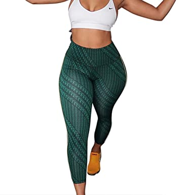 4620ba0dda LAODIA Yoga Pants for Women Print Line Skinny Fitness Sports Tights  Leggings Green