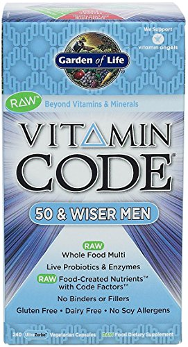 Garden of Life Vitamin Code Raw 50 and Wiser Men's Multivitamin, 240 Capsules (Pack of 3)