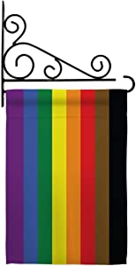 Philadelphia Rainbow  Garden Flag - Set Wall Holder Support Pride Rainbow Love LGBT Gay Bisexual Pansexual Transgender - House Decoration Banner Small Yard Gift Double-Sided Made in USA 13 X 18.5