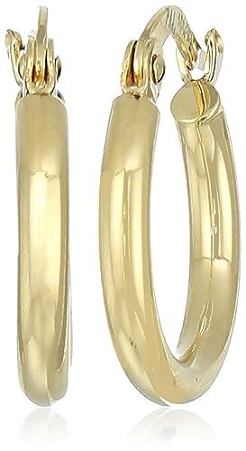 10k Yellow Gold 2mm Round Tube Hoop Earrings